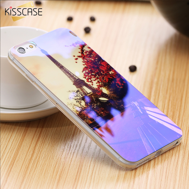 KISSCASE Blue Soft Case For iPhone 5S SE 6 6S Plus Case Colorful Flower Animal Pattern Cover For iPhone 8 7 6s Plus Fundas Capa