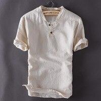 Moda Erkek Kazak Keten Gömlek Kısa Kollu Yaz Nefes Erkek s Kalite Casual Gömlek Slim fit Katı Pamuk T Shirt