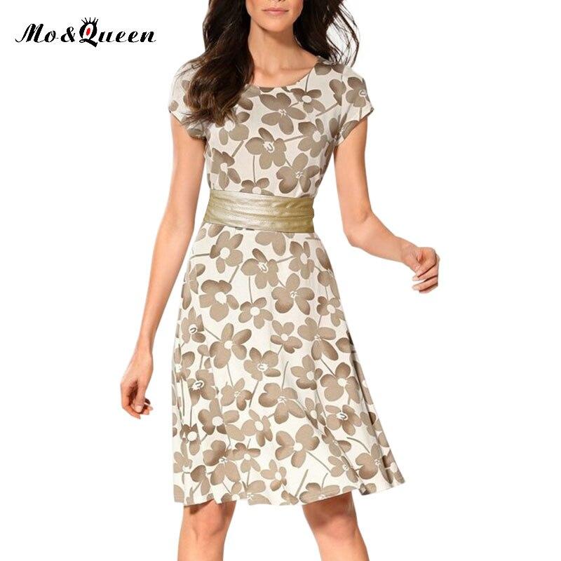 Casual Dress Women Short Sleeve Beach Dress O Neck Polyester Flower Tight Summer Dress Women 2017