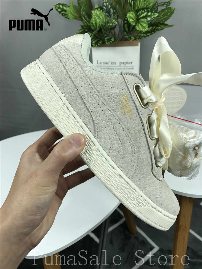 ... Original Puma SUEDE Heart Satin Wn Sneaker 362714 04 Women s Badminton  Shoes Beige Color Silk Bow ... ce2c878ea