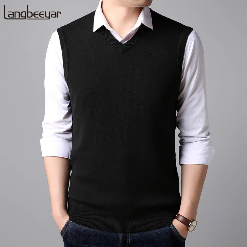 2019 New Fashion Vest Sweater Man Pullovers  Sleeveles V Neck Slim Fit Jumpers Knitwear Winter Korean Style Casual Clothing Men