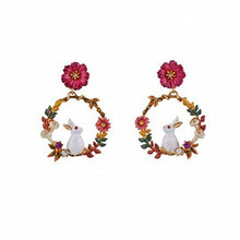 Colorful flowers rabbit earrings female is a sweet and lovely jewelry wholesale manufacturer