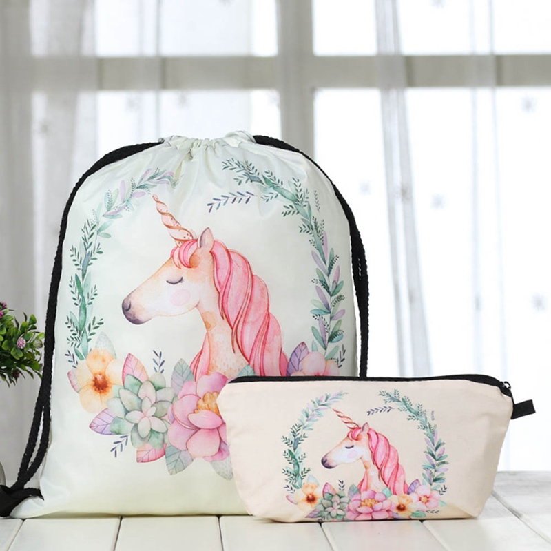 Hot Sale  Printing Schoolbags Unicorn Pattern Women Drawstring Bag For Student Drop Shipping(China)