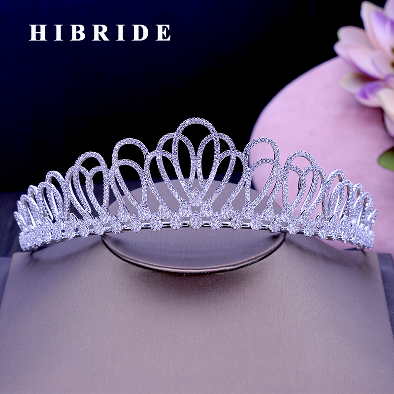 HIBRIDE New Flower Design Headband Noble Cubic Zircon Crown And Tiaras Bridal Hair Accessories For Wedding Gifts C-50 flower design headband