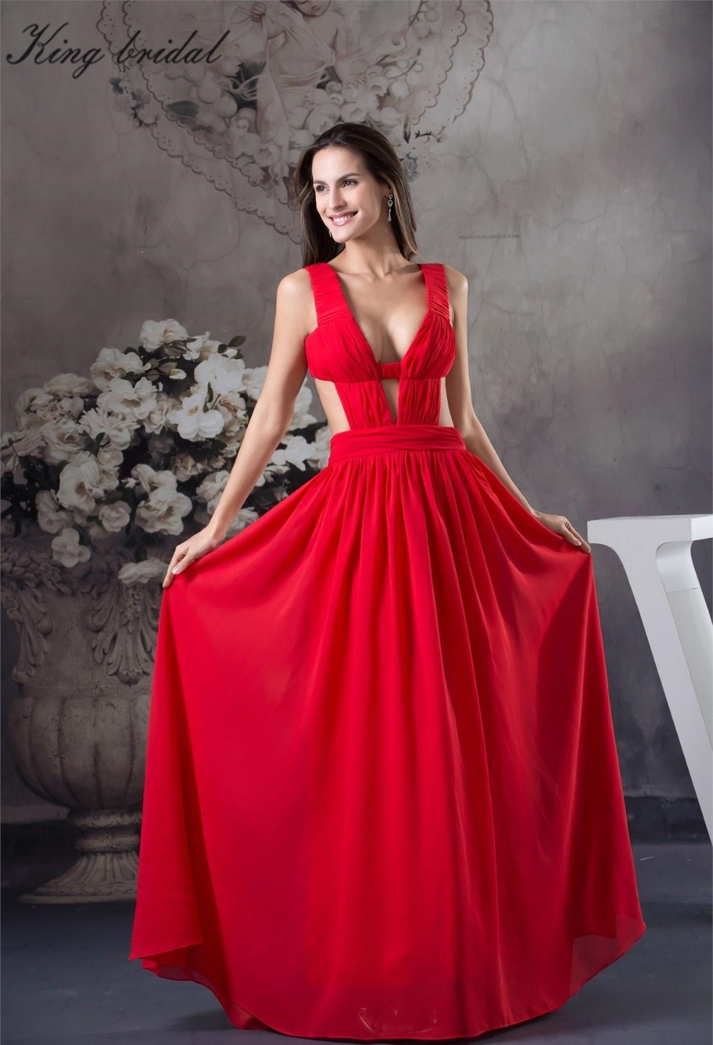2017 Red Floor Length Chiffon Straps Petite Prom Dresses