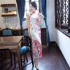 Shanghai Story Short Sleeve National Trend Drere Floral Cheongsam Long Qipao Chinese Traditional Dress For Women