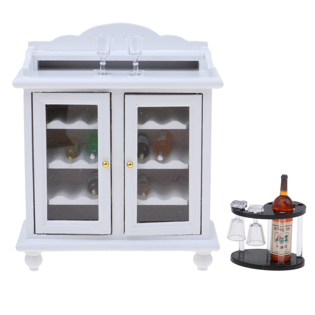 112 Dollhouse Miniature Wooden Wine Cabinet & Wine Rack & Cups Model Set Room Furniture Accessories