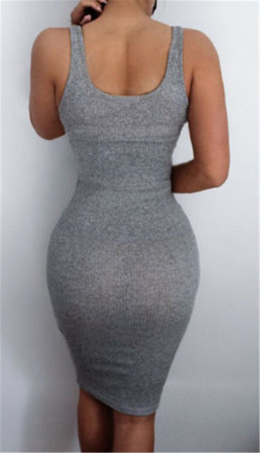Hot Sale women Package Hip Dress Bandage Bodycon Mini Dress High Waist Slim Solid Gray Casual Dress 5