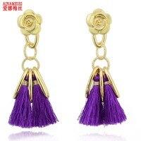 5 Colors Crystal Cotton Tassel Earrings Fashion Women Statement Dangle Drop Earrings for Women Fringing Earrings Jewelry