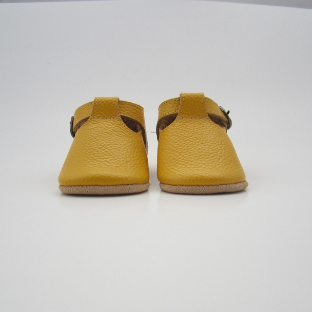 2016 New Design Mustard Yellow Baby Moccasins Newborn baby girls T-bar shoes Fringe soft Sole Leather Baby