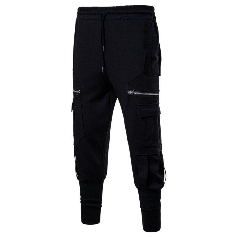 Autumn New Mens Casual Harem Pants Elastic Waist Beam Ankle Pants Streetwear