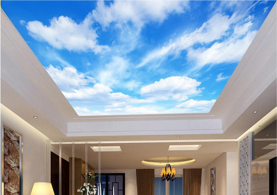 Customize Ceiling Murals Wallpaper Blue Sky And White Clouds For Walls Photo In Wallpapers From Home Improvement On
