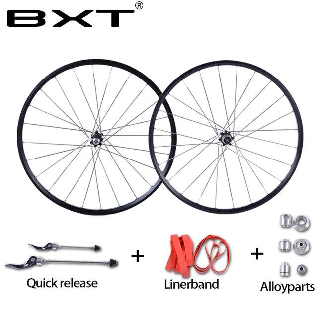 Cheap 2016 new MTB Mountain Bike Wheelsets 4 Bearing Hub Bike Parts Bike Aluminum Alloy Wheel Sets 28Holes Cycling Wheels free ship