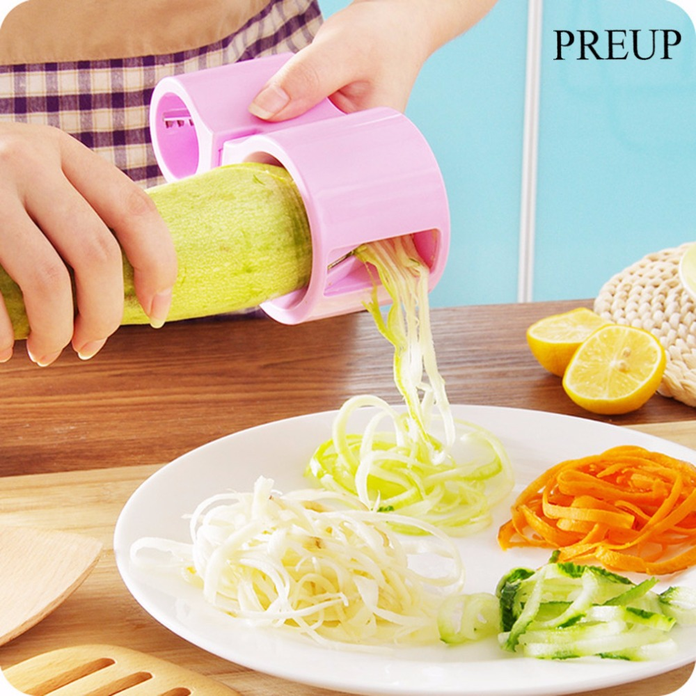 PREUP 4 צבעים ירקות Cutter מטבח Spiral Slicer ספירלייזר מלפפון חיתוך גזר קישואים אטריות פסטה ספגטי Graters
