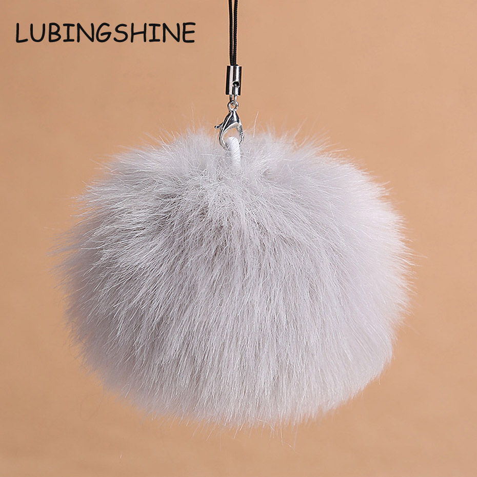 LUBINGSHINE Multicolor Women Bag Charms Pompom Ball Key Chain Fluffy Pompon Fur Keyring Mobile Pendant Car Keychain Jewelry C510