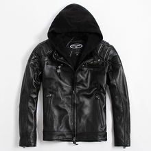 2017 New Men Black Genuine Hood Leather Motorcycle Jacket Real Thick Cowhide Plus Size XXL Slim Fit Russian Coat FREE SHIPPING