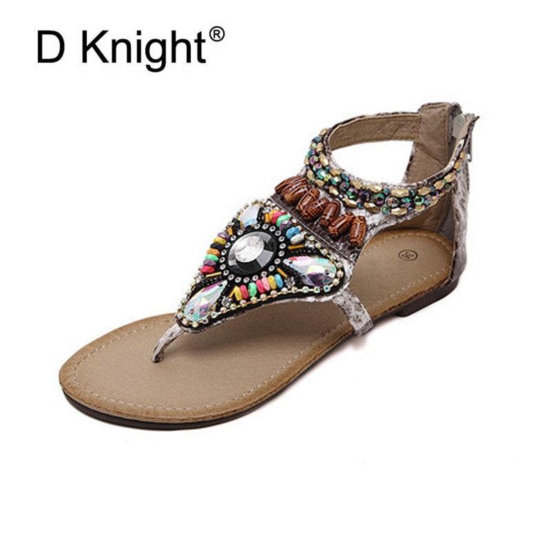 D Knight Brand Women Sandals Flat With Rhinestones Flip -1977