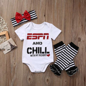 c207e3232 UK STOCK Infant Baby Girls Romper Jumpsuit Tops Leggings Headband 3Pcs  Outfits