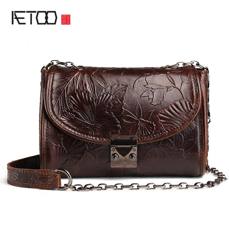 AETOO new vintage Embossed leather bag ladies head cow leather oil wax skin handbags retro shoulder bag Messenger small bag aetoo the new oil wax cow leather bags real leather bag fashion in europe and america big capacity of the bag