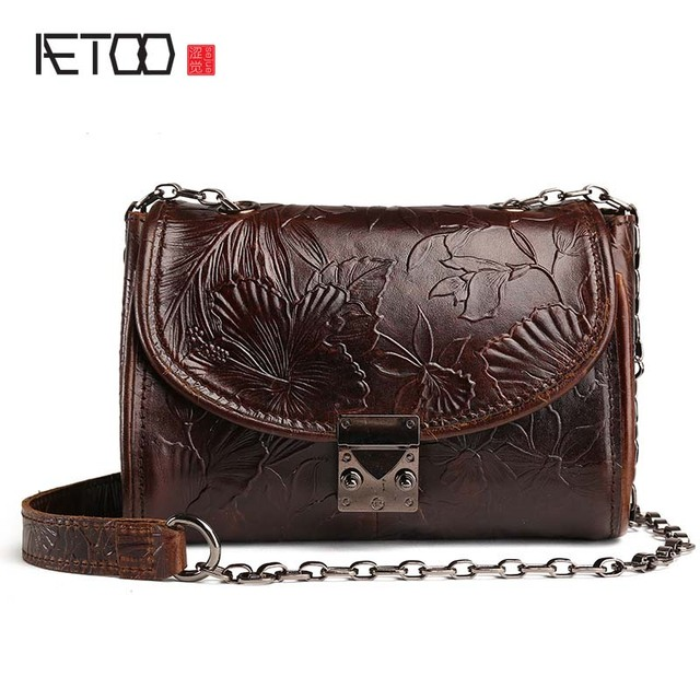 Aetoo New Vintage Embossed Leather Bag Las Head Cow Oil Wax Skin Handbags Retro Shoulder