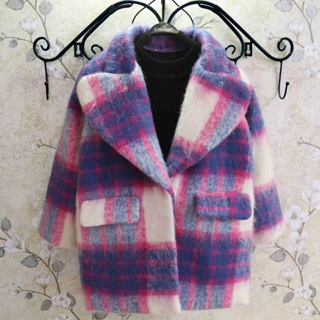 Nuevos niños de invierno de corea niñas de color a cuadros abrigo de lana gruesa niños clothing