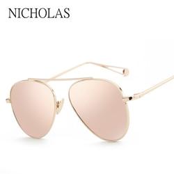 NICHOLAS Vintage Aviator Sunglasses Women Brand Designer Pink Mirror Sun glasses Ladies Female Eyewear Oculos De Sol Feminino