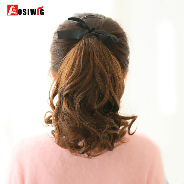 Aosiwig Female Hair Ponytail Short Curly Hair Tail Natural Clip In