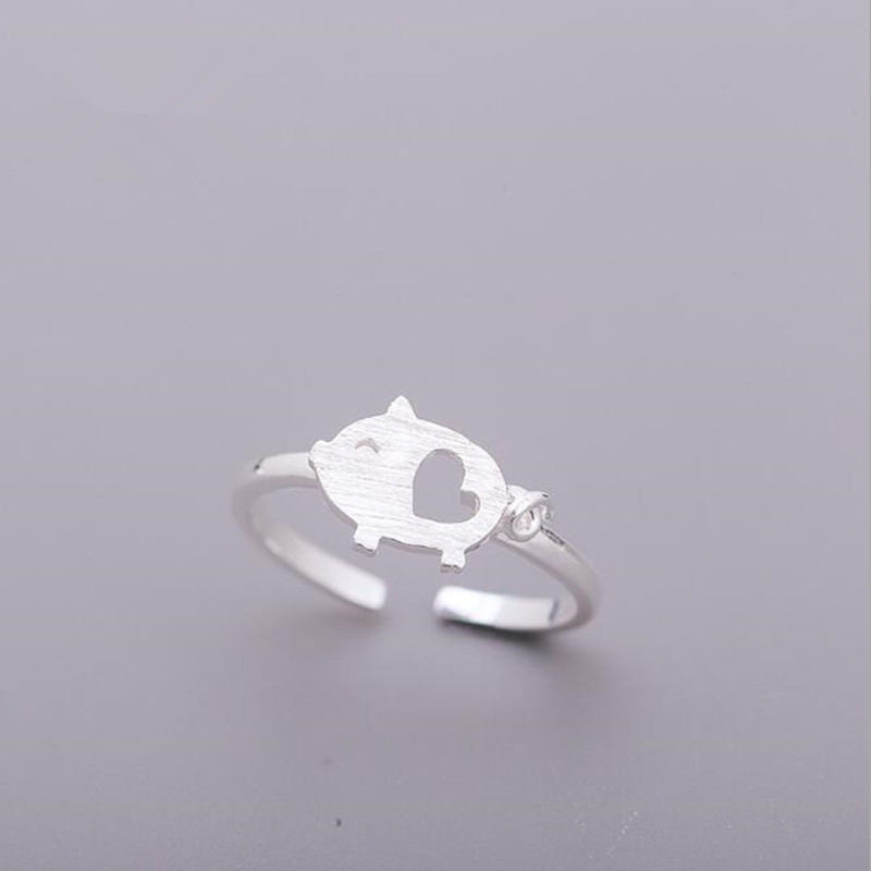 Personality Creative Popular Exquisite 925 Sterling Silver Jewelry Pull Fresh Joints Pig Animal Accessories Opening Rings  SR269