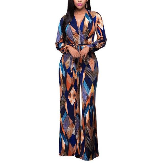 5d669acf003a 2017 Dreamskull Women s V Neck Floral Wide Legs Jumper Maxi Plus Size Long  Sleeve Jumpsuit