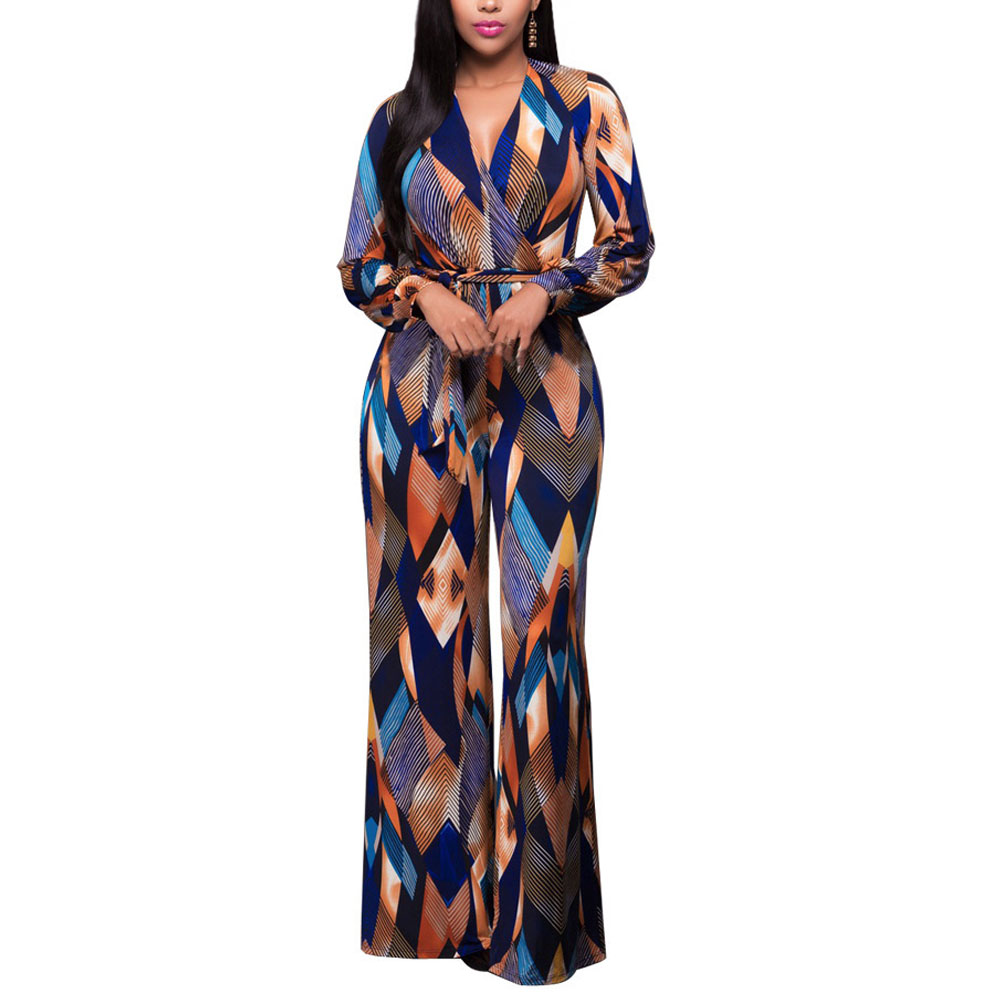 2017 Dreamskull Womens V Neck Floral Wide Legs Jumper Maxi Plus Size Long Sleeve Jumpsuit