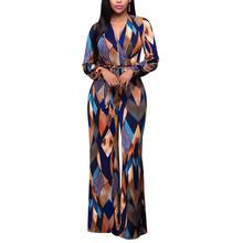 2017 Dreamskull Women's V Neck Floral Wide Legs Jumper Maxi Plus Size Long Sleeve Jumpsuit