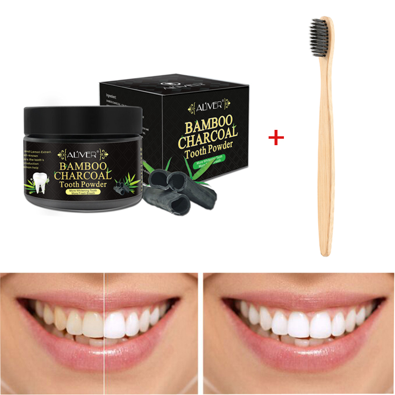 50g Bamboo ToothbrushNatural Organic Activated Charcoal Teeth Whitening Powder Tea Stains Removal Calculus Tooth Clean TSLM2