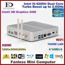 3 Год Гарантии Мини-Безвентиляторный PC, 4 К HTPC, Неттоп с Intel Haswell i5-4200U CPU, 3280*2000, HDMI, 4 * USB3.0, 300 М Wi-Fi, Windows 10 Pro