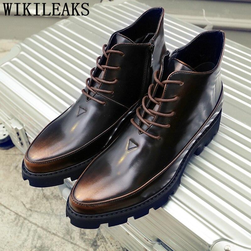 Cowboy Boots Mens Italian Shoes Brand Designer Leather Boots Men Fashion Shoes 2020 High Ankle Shoes Men Coiffeur Erkek Ayakkabi Leather Bag