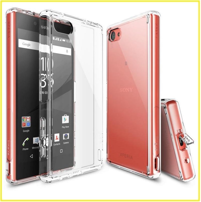 imágenes para Para sony xperia z5 compact ringke fusión crystal clear pc contraportada tpu cajas del teléfono coque envío dentro de 24 horas