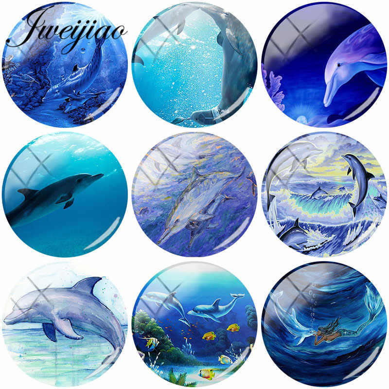 JWEIJIAO Dolphin Blue Sea Art Picture Round Glass Cabochon DIY Jewelry For Pendant Bracelet Necklace Keychain Accessories