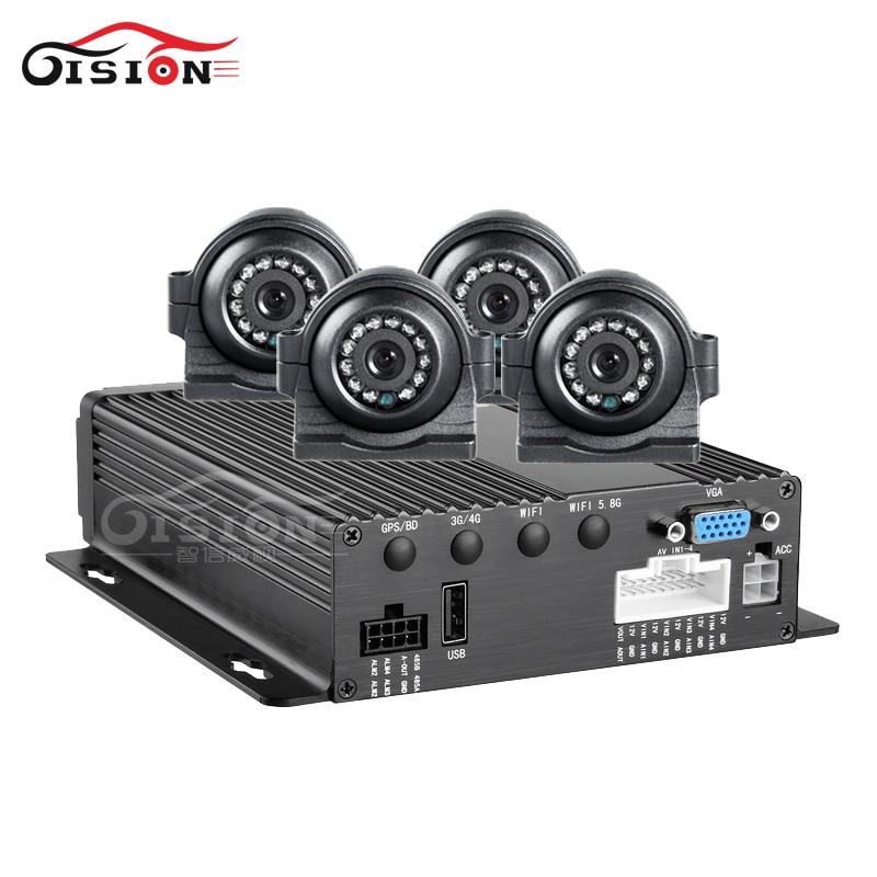 H.264 Dual SD Car Mobile Dvr Recorder 4Channel Video/Audio Input CCTV Car MDvr+4PCS Side/ Front Metal Camera Kits