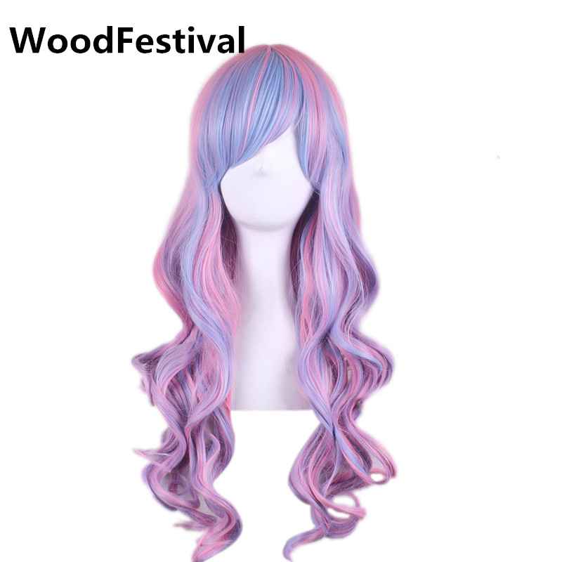 WoodFestival Blue Pink Multicolour Wig with bangs Synthetic Long Wavy Cosplay Party Wigs For Women Heat Resistant
