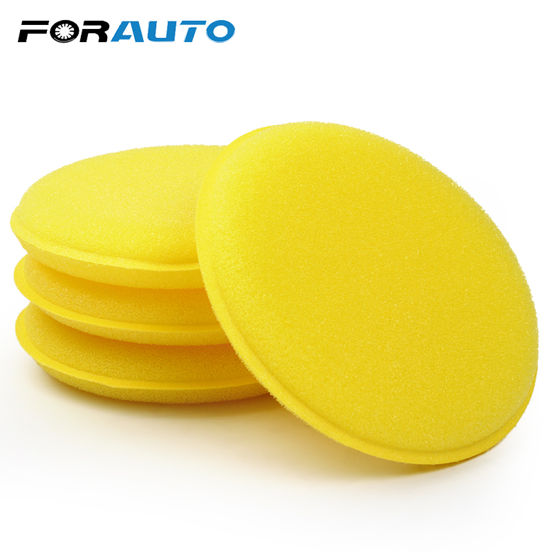FORAUTO Sponge 12 Pcs/set Car Cleaning Tool Tyre Dressing Foam Wax Sponge Anti-Scratch Applicator Pads Yellow Polishing Towel