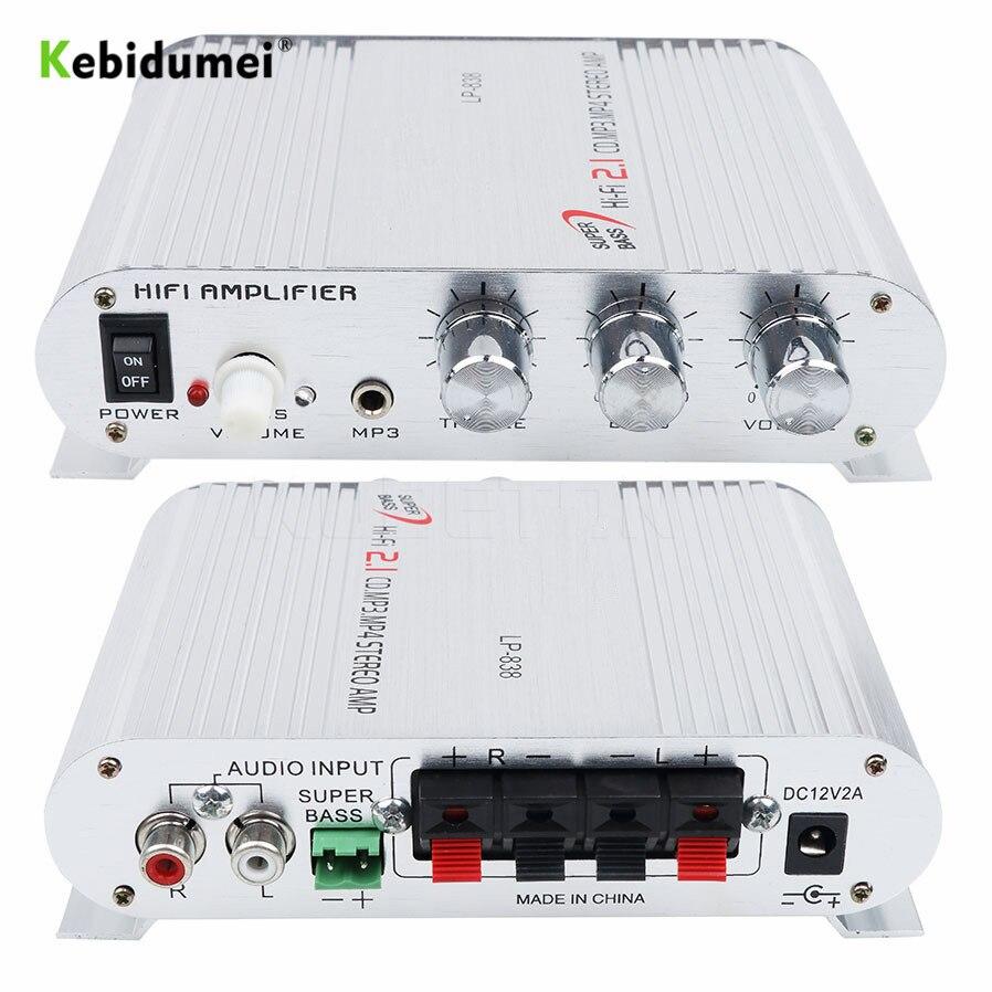 Автомобильный 3-канальный Усилитель Стерео Mega Bass LP-838 12 в 300 Вт Hi-Fi Подключение к телефону ПК DVD плеер MP3 MP4 портативный сабвуфер