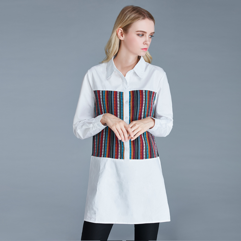 Primavera otoño ropa de maternidad suelta camisa de gran tamaño costura blusas de rayas de manga larga vestido de maternidad