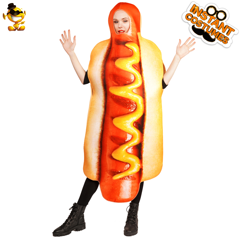 DSPLAY Cosplay Party Fashionable Emoticon Jumpsuit Deluxe Unisex Fashion Food Brand New Design Delicious Hotdog Costume