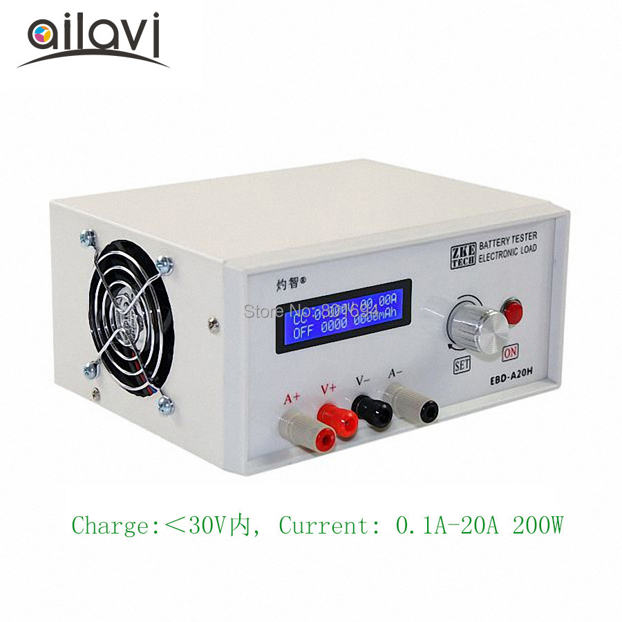 EBD A20H Battery Capacity Tester DC 0 30V Electronic Load Power Supply Adapter Test Equipment Discharger 20A