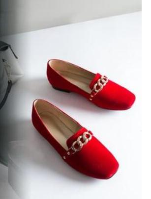 Noir Nouveau Femmes Envoyer rouge Automne Style 2018 Printemps Carrée Chaussures Plat Et De Livraison Fond kaki Tête jc43L5ARq