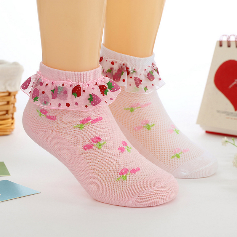 Toddler Kids Girls Summer Slim Strawberry Lace Socks Baby Seam Fishnet Princess Breathable Cotton Sock Pink White Solid 1-9Y