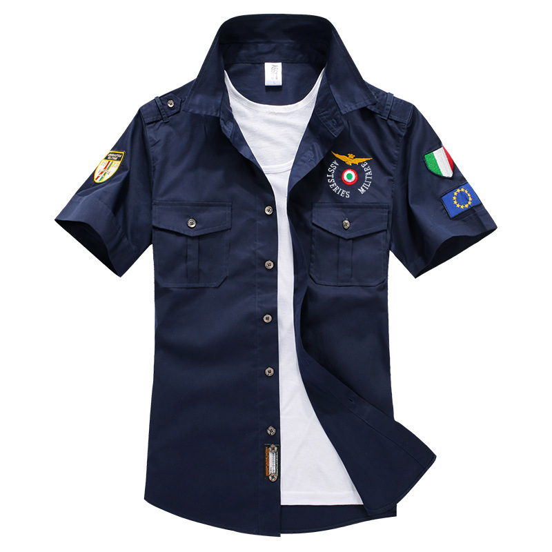 New Plus Size Air Force One Elastic Pustende Bomuld Herre Kjole Shirts 2016 Sommer Mand Military Serie Casual Shirt, UMA152