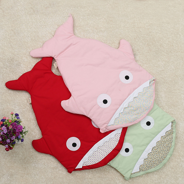 2016 nova chegada do bebê saco de dormir do bebê tubarão nerborn sacos de dormir do bebê algodão grosso bonito carrinho de bebê sacos de dormir de inverno tubarão
