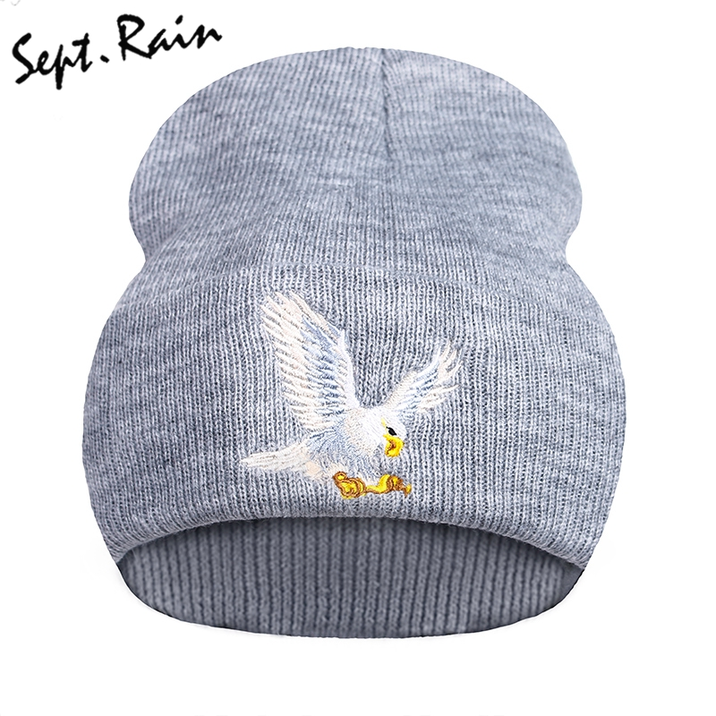 95e3fb36afc Autumn Newest Beanie Eagle Animal Embroidery Winter Hats Soft Casual Knitting  Beanies Skullies for Women Men Bonnet-in Skullies   Beanies from Apparel ...