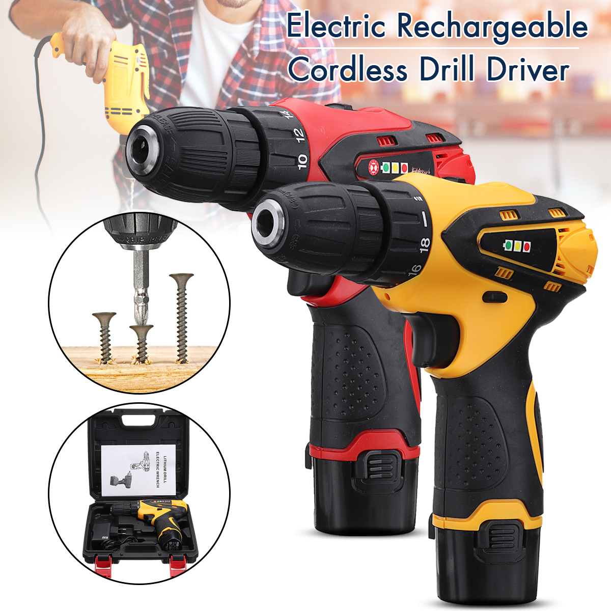 12V 1300rpm Electric Screwdriver Li Battery Rechargeable Multi-function 2 Speed Cordless Electric Drill Power Tools Box государственная символика флаг гребень 5 видов