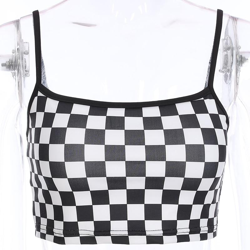 Sweetown Vogue Checkerboard Tank Top Womens 2018 Summer Sleeveless Crop Top Shirt Strap Bralette Bustier Crop Tops
